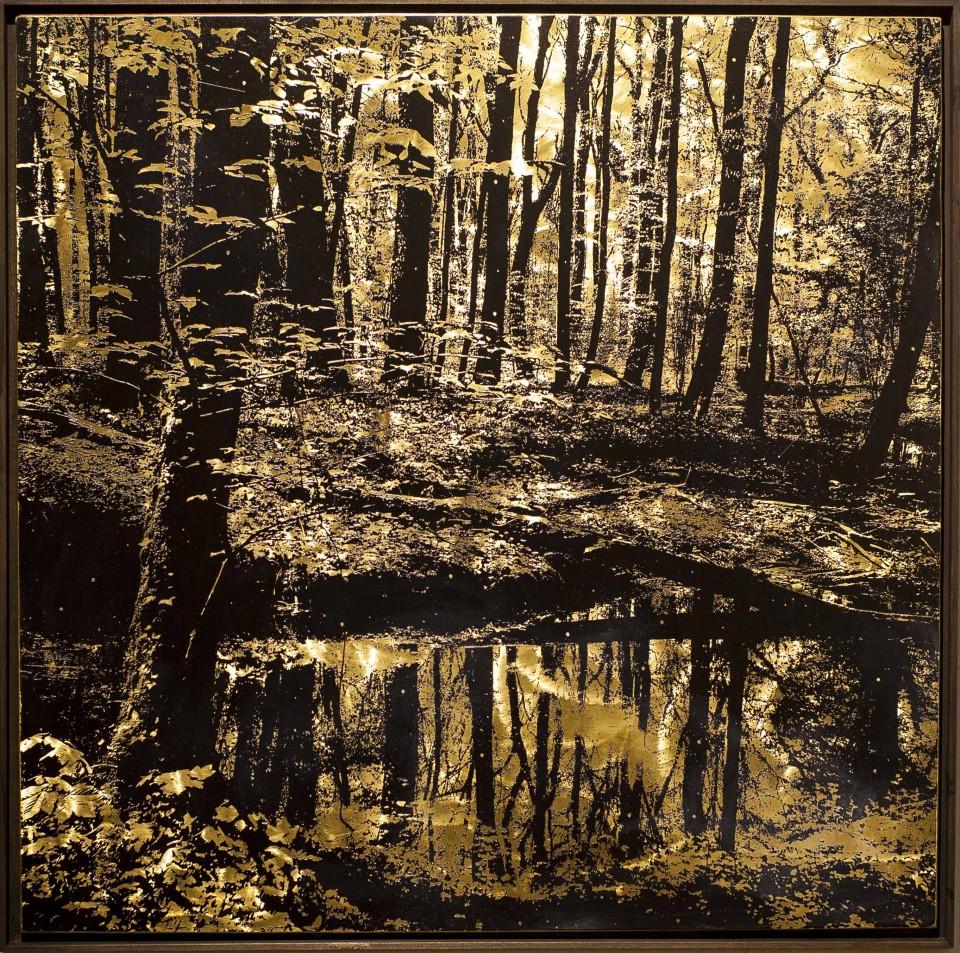 Spiegellichtung, 2016, 80x80cm, Übermalter Reliefdruck auf Messing