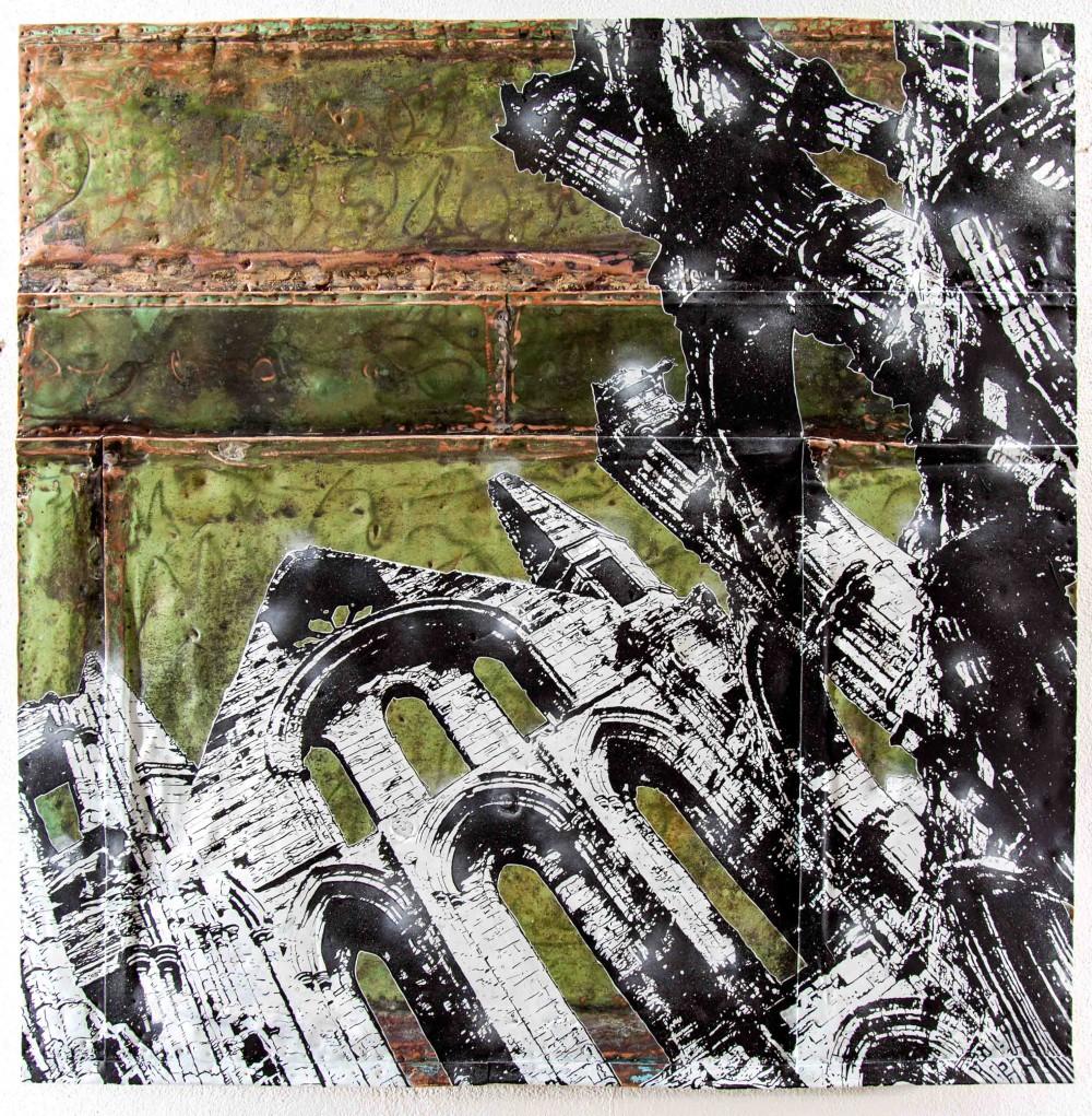 Altbau, 2014, 140x140cm. Mischtechnik auf Kupfer
