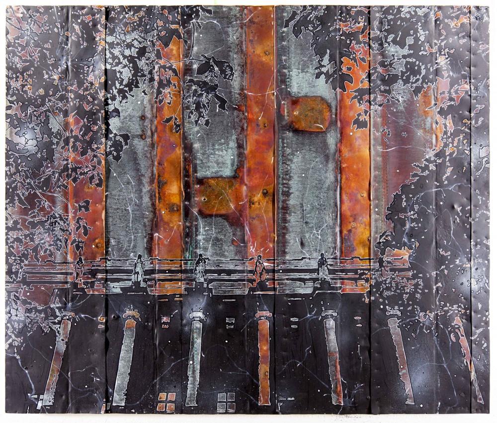 Ausklang, 2013, 100x120cm, Mischtechnik auf Kupfer Gerahmt