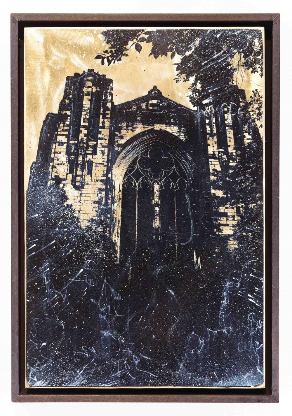 Ausstrahl, 2015, 30x20cm, Übermalter Reliefdruckdruck auf Messing, Gerahmt