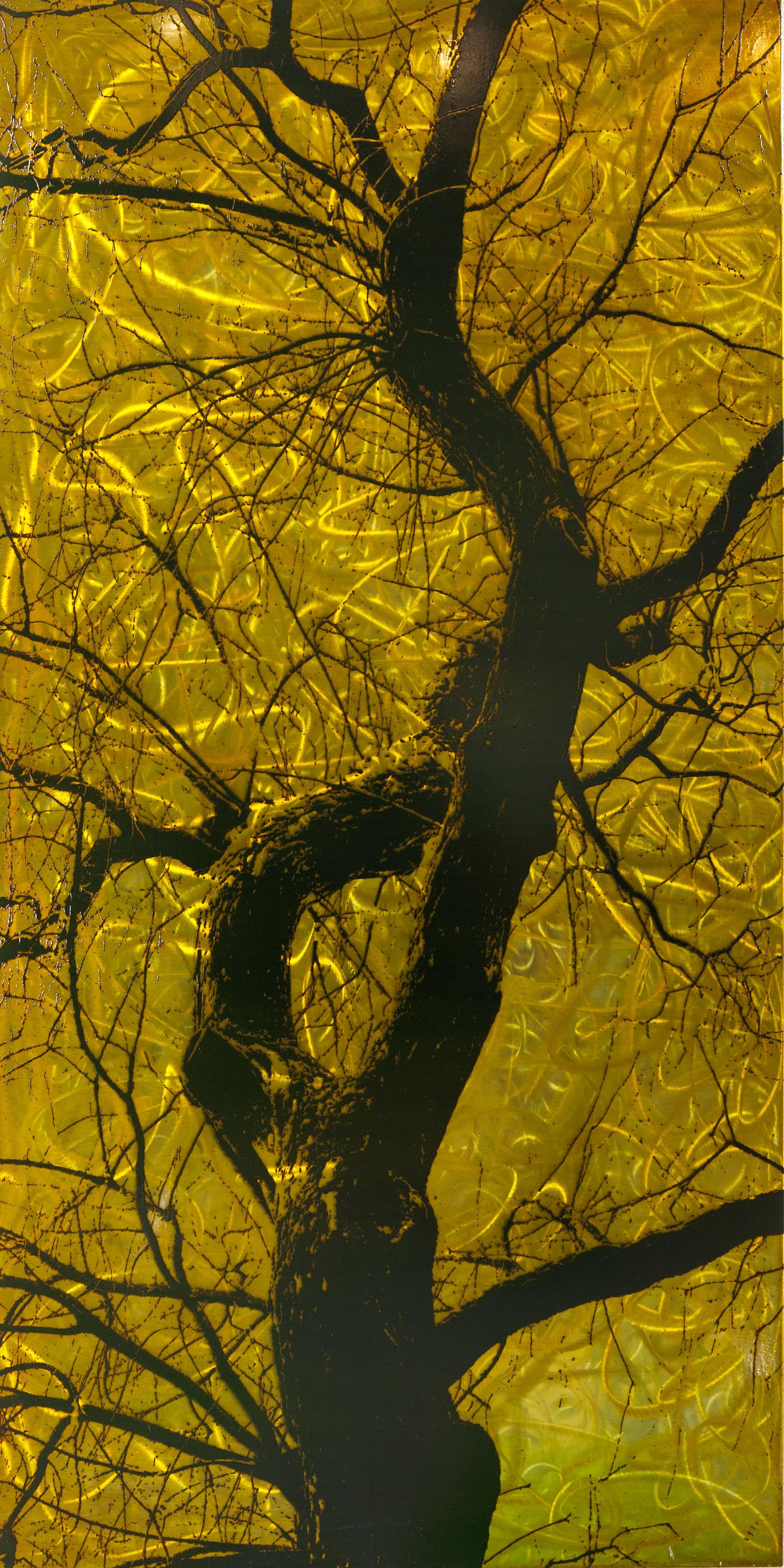 Baumschau VIII, 2014, 75x150cm, Übermalter Reliefdruckauf Stahl