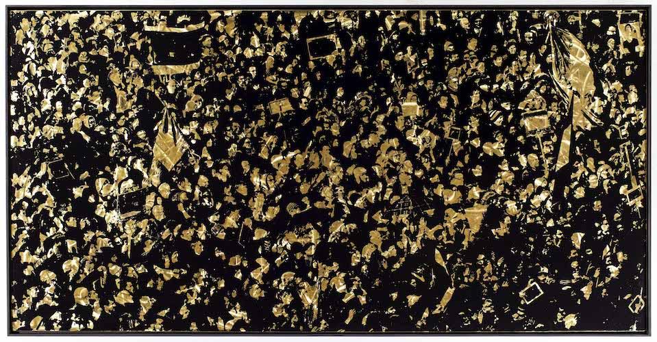 Die Bewegung, 2015, 100x200, Reliefdruck auf Messing Gerahmt