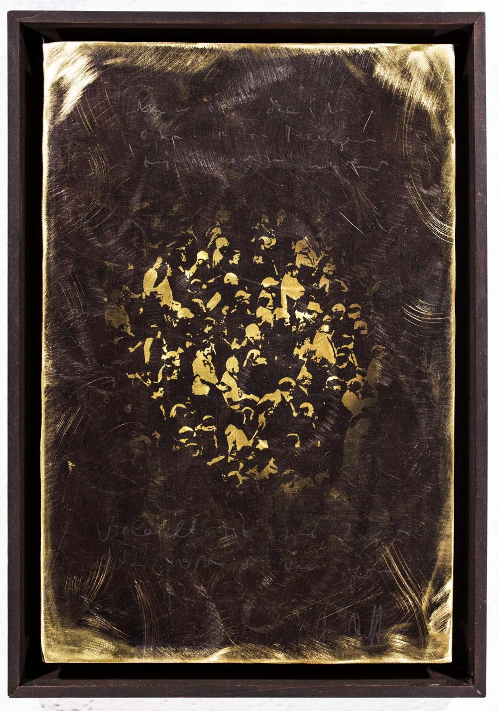 Einblick, 2015, 30x20cm, Überarbeiteter Reliefdruck auf Messing Gerahmt