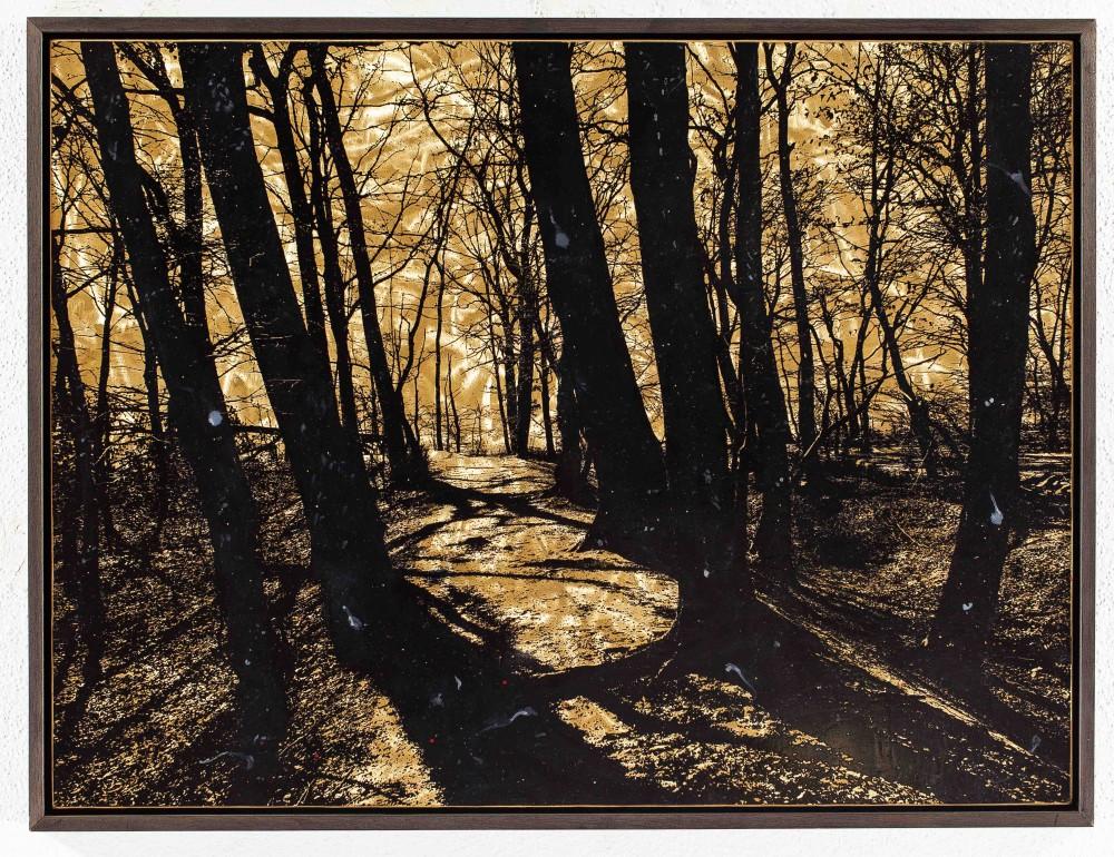 Kleiner Durchweg, 2015, 60x80cm, Übermalter reliefdruck auf Messing