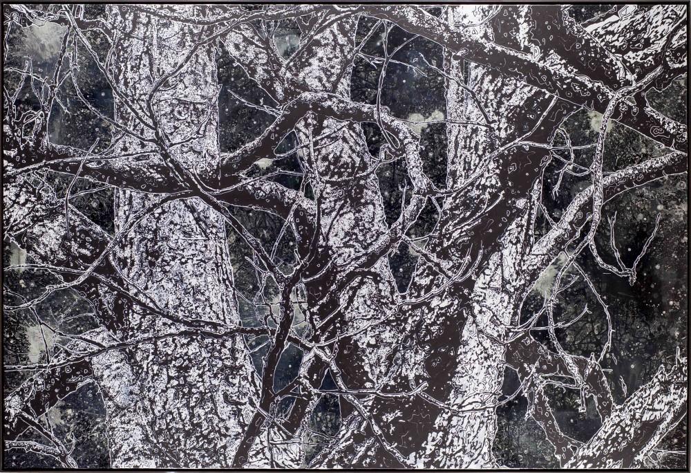 Nachtholz, 2015, 170x250cm, Mischtechnik auf LW