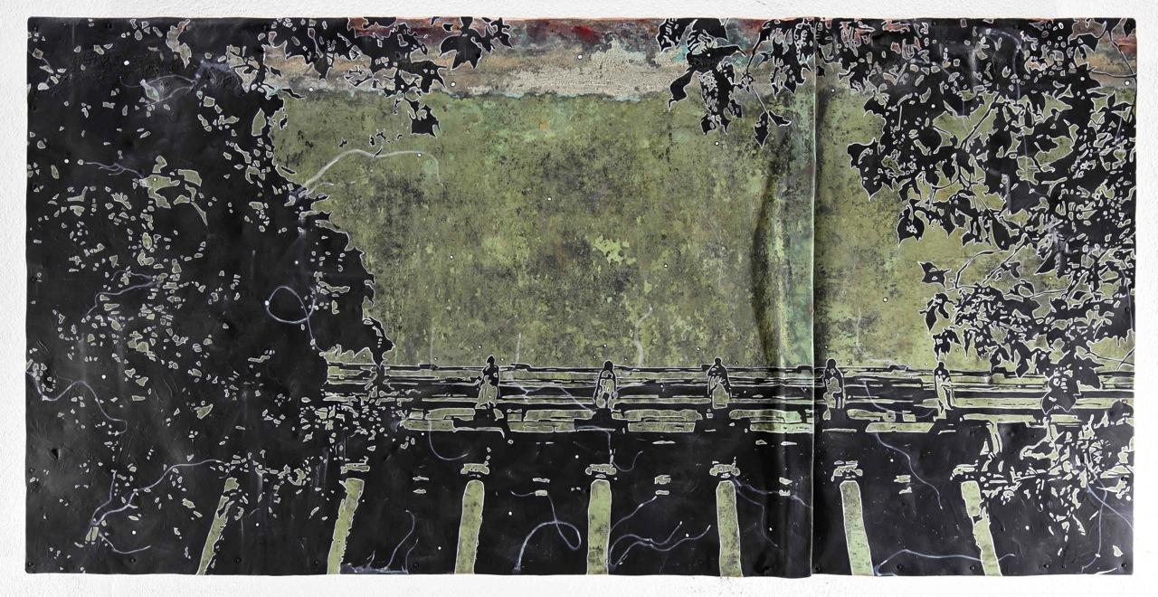 Rauchsaal, 2012, 60x120cm, Mischtechnik auf Kupfer