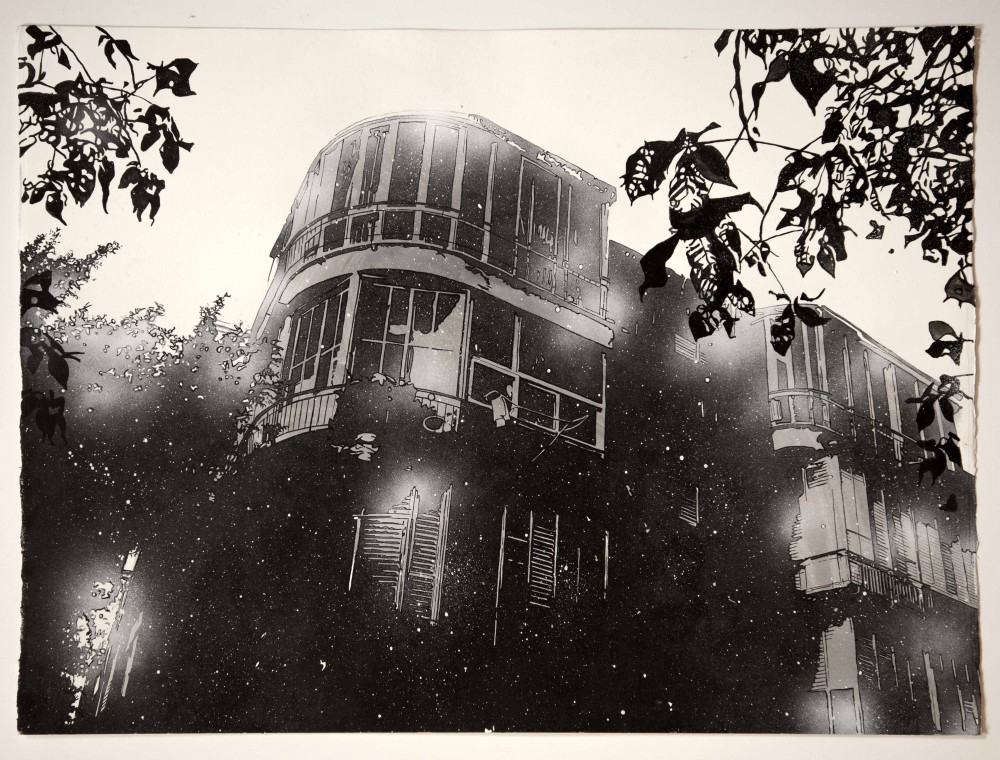 The House Three, 2014, 56x76 cm, Mischtechnik auf Papier
