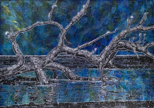Nachtliches Holz, 2018, 140x200cm, Malerei mischtechnik auf LW